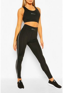 Black Woman Signature Piping Gym Leggings