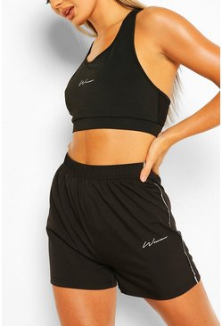 Black Woman Signature Run Shorts