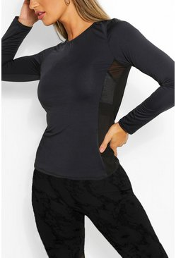 Black Mesh Side Panel Long Sleeve Gym Top