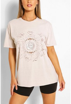 Sand CELESTIAL PRINT WASHED T-SHIRT