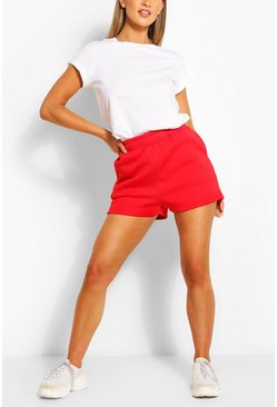 Red Pocket Detail Sweat Shorts
