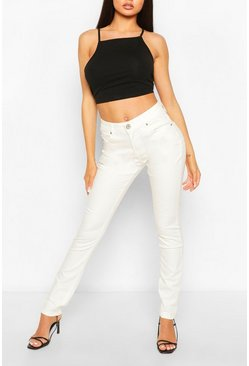 White Mid Rise Stretch Skinny Jeans