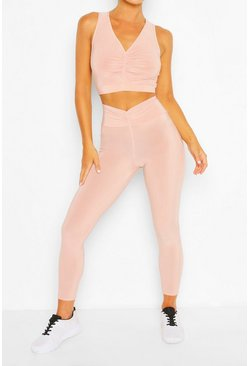 Blush pink Ruch Front Workout Leggings