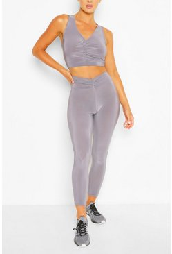 Charcoal grey Ruched Front Gym Legging