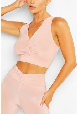 Blush pink Ruched Front Sports Bra