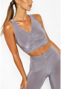 Charcoal grey Ruched Front Sports Bra