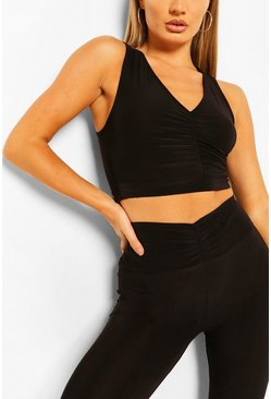 Black Ruched Front Sports Bra