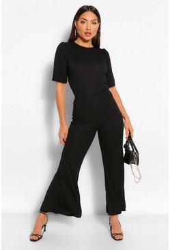 Black Ribbed Puff Sleeve T-Shirt & Trouser Co-ord Set