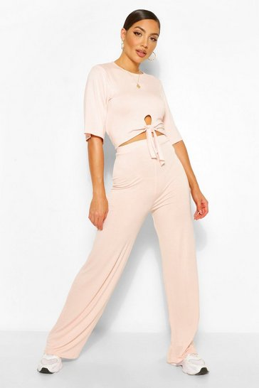 Blush pink Tie Front T-shirt & Trouser Co-ord Set