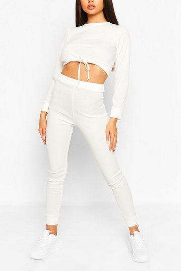 Ecru white Ribbed Drawstring Crop and Legging Co-ord Set