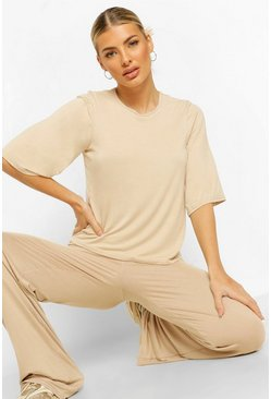 Natural Oversized TShirt and Trouser Coord Set