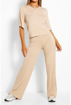 Stone beige Oversized Tshirt And Pants Two-Piece Set