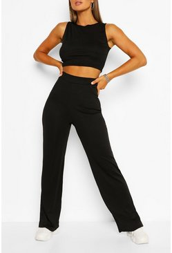 Black Ribbed Seam Detail Crop & Trouser Co-ord Set