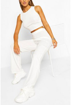 Cream white Ribbed Seam Detail Crop & Trouser Co-ord Set