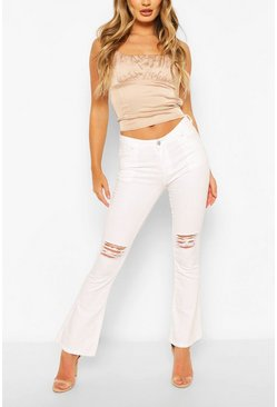 White Distressed Denim Flares