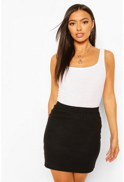 Black Linen Look A Line Mini Skirt
