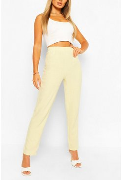 Lime Linen Look Elasticated Waist Trouser