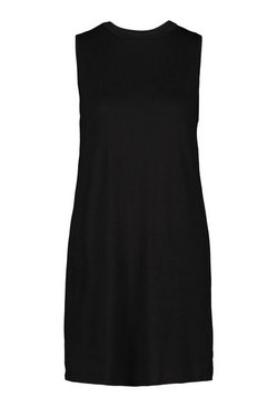 Black Sleeveless Basic Vest T-Shirt Dress