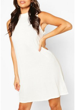 White Sleeveless Basic Tank Top T-Shirt Dress