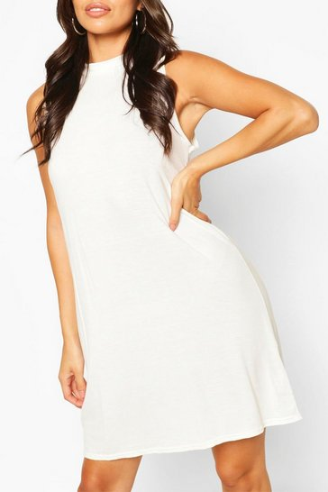 White Sleeveless Basic Vest T-Shirt Dress