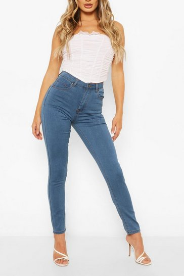 Mid blue blue High Waist Stretch Super Skinny Jeans