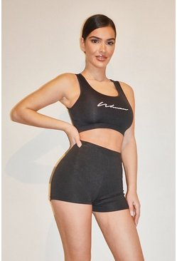 Black Woman Script Gym Shorts
