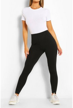 Black Jumbo Rib Deep Waist Leggings
