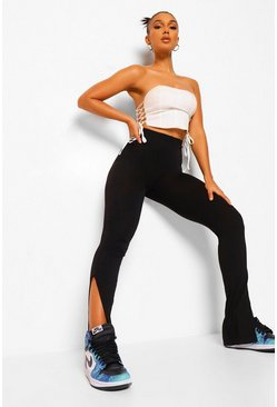 Black Basic Split Hem Legging