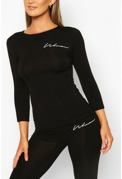 Black Fit Woman Script Long Sleeve Gym Tee