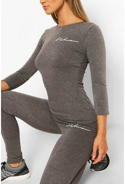 Charcoal grey Fit Woman Script Long Sleeve Gym Tee