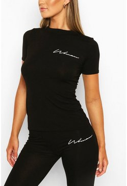 Black Fit Woman Script Gym Tee