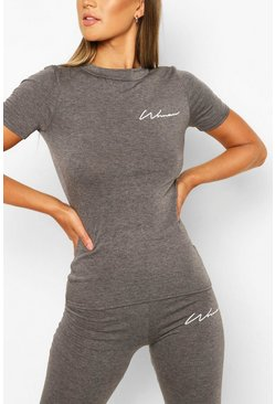 Charcoal grey Fit Woman Script Gym Tee