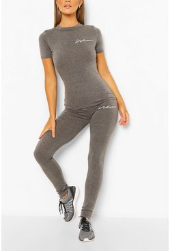 Charcoal grey Fit Woman Script Workout Leggings