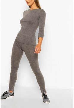 Charcoal grey Fit Woman Script Gym Leggings