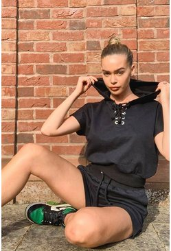 Black Lace Up Hoody And Shorts Set