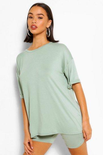 Sage green Jersey T-shirt & Cycling Short Set