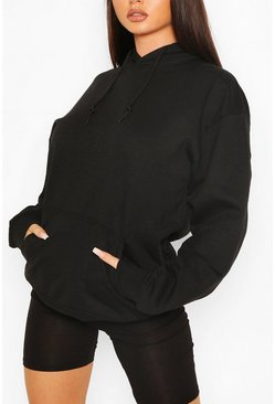Oversized-Hoodie aus recyceltem Material, Schwarz