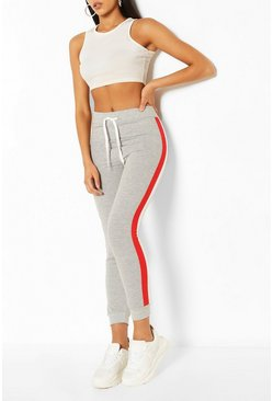 Grey Side Stripe Colourblock Jogger