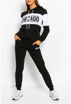 Black Colourblock Chicago Slogan Tracksuit