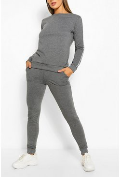 Charcoal grey Side Detail Sweater & Jogger Set