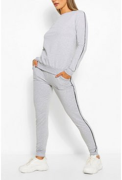 Grey Side Detail Sweater & Jogger Set