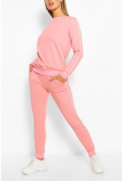 Pale pink pink Side Detail Sweater & Jogger Set
