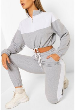 Grey High Neck Colourblock Tracksuit