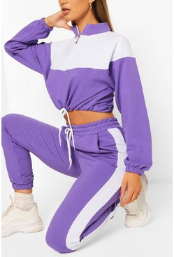 Lilac purple High Neck Colourblock Tracksuit