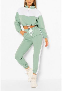 Mint green High Neck Colourblock Tracksuit