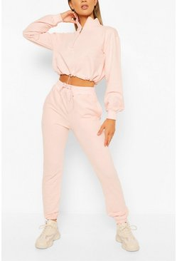 Pink High Neck Sweat & Jogger Tracksuit