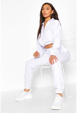White High Neck Sweat & Jogger Tracksuit