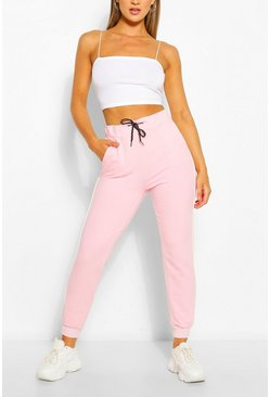 Pale pink pink Regular Joggers With Piping Detail
