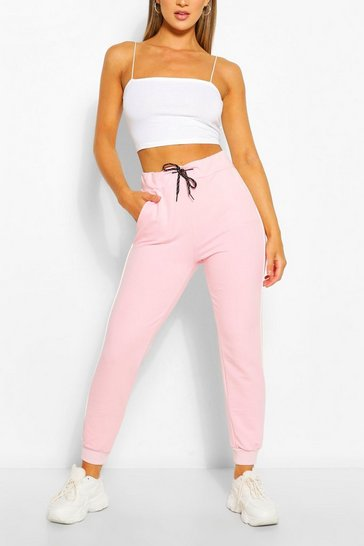 Pale pink pink Pink Regular Joggers With Piping Detail
