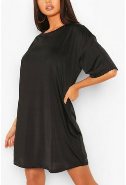 Black Slinky Oversized T-Shirt Dress